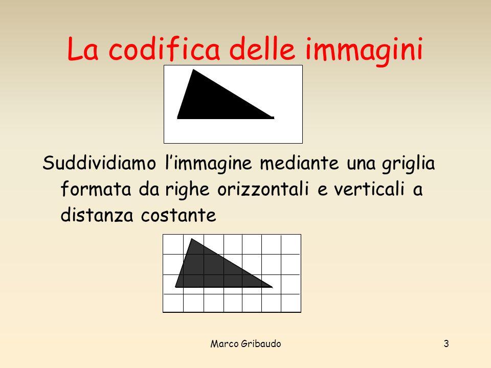 Marco Gribaudo3 La codifica delle immagini Suddividiamo limmagine mediante una griglia formata da righe orizzontali e verticali a distanza costante