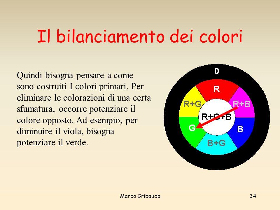 Marco Gribaudo34 Il bilanciamento dei colori Quindi bisogna pensare a come sono costruiti I colori primari.