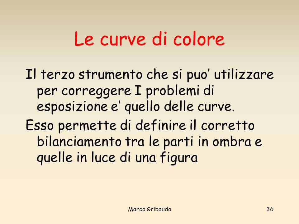 Marco Gribaudo36 Le curve di colore Il terzo strumento che si puo utilizzare per correggere I problemi di esposizione e quello delle curve.