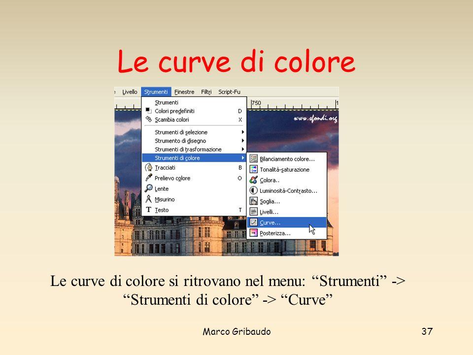 Marco Gribaudo37 Le curve di colore Le curve di colore si ritrovano nel menu: Strumenti -> Strumenti di colore -> Curve