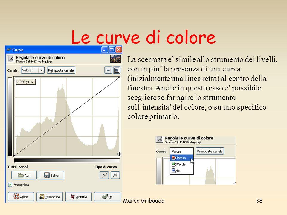Marco Gribaudo38 Le curve di colore La scermata e simile allo strumento dei livelli, con in piu la presenza di una curva (inizialmente una linea retta) al centro della finestra.