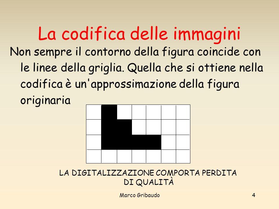 Marco Gribaudo4 La codifica delle immagini Non sempre il contorno della figura coincide con le linee della griglia.