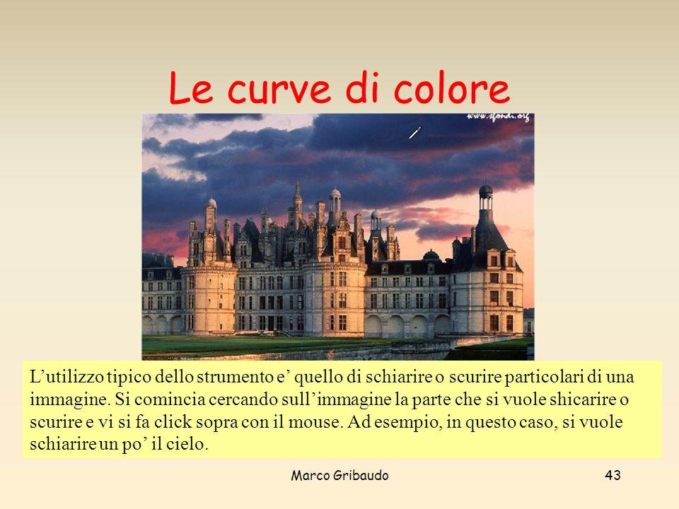 Marco Gribaudo43 Le curve di colore Lutilizzo tipico dello strumento e quello di schiarire o scurire particolari di una immagine.