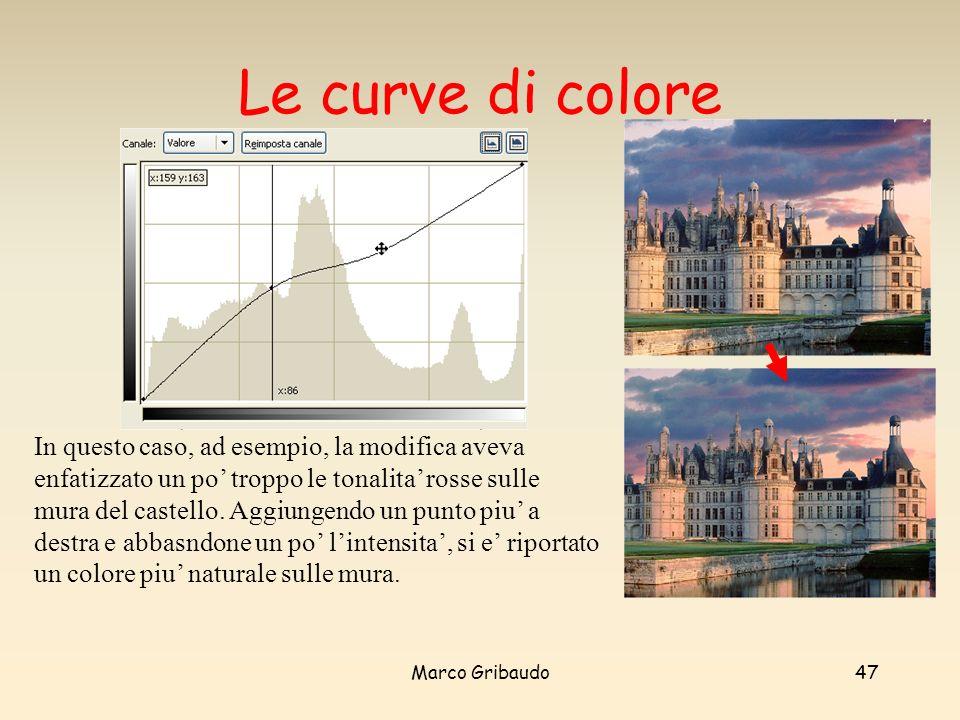 Marco Gribaudo47 Le curve di colore In questo caso, ad esempio, la modifica aveva enfatizzato un po troppo le tonalita rosse sulle mura del castello.