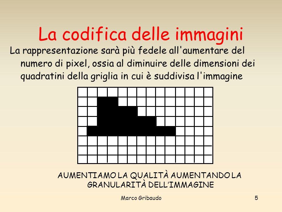 Marco Gribaudo5 La codifica delle immagini La rappresentazione sarà più fedele all aumentare del numero di pixel, ossia al diminuire delle dimensioni dei quadratini della griglia in cui è suddivisa l immagine zz AUMENTIAMO LA QUALITÀ AUMENTANDO LA GRANULARITÀ DELLIMMAGINE