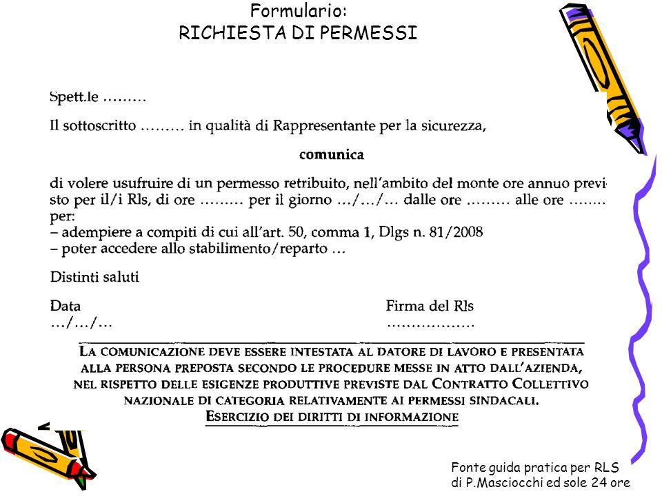 Formulario: RICHIESTA DI PERMESSI Fonte guida pratica per RLS di P.Masciocchi ed sole 24 ore