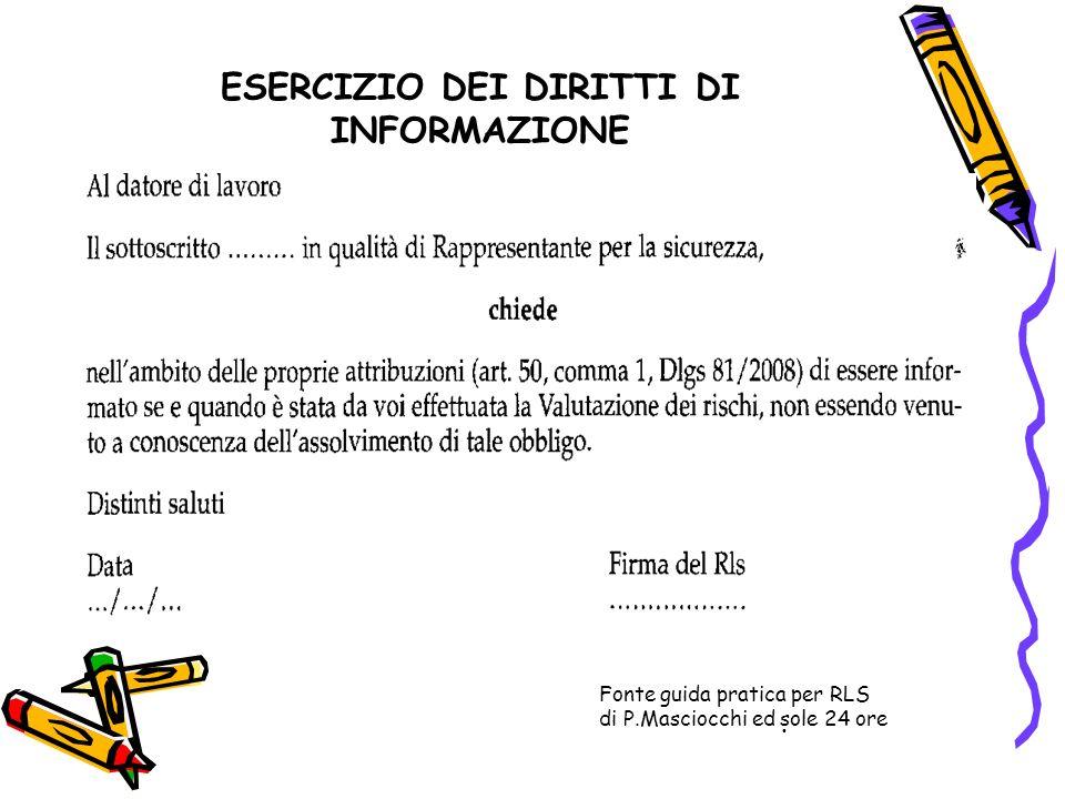 ESERCIZIO DEI DIRITTI DI INFORMAZIONE. Fonte guida pratica per RLS di P.Masciocchi ed sole 24 ore