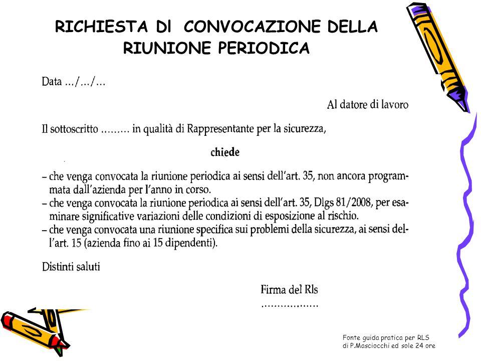 RICHIESTA Dl CONVOCAZIONE DELLA RIUNIONE PERIODICA Fonte guida pratica per RLS di P.Masciocchi ed sole 24 ore
