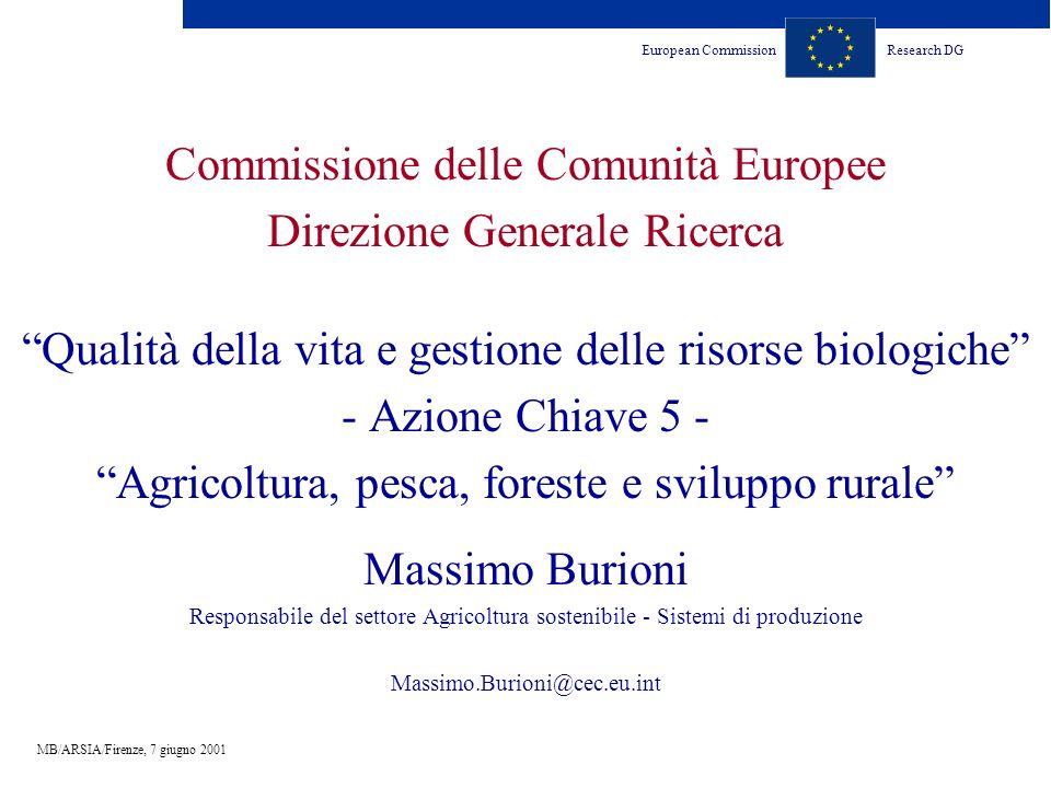 European CommissionResearch DG MB/ARSIA/Firenze, 7 giugno 2001 Commissione delle Comunità Europee Direzione Generale Ricerca Qualità della vita e gest