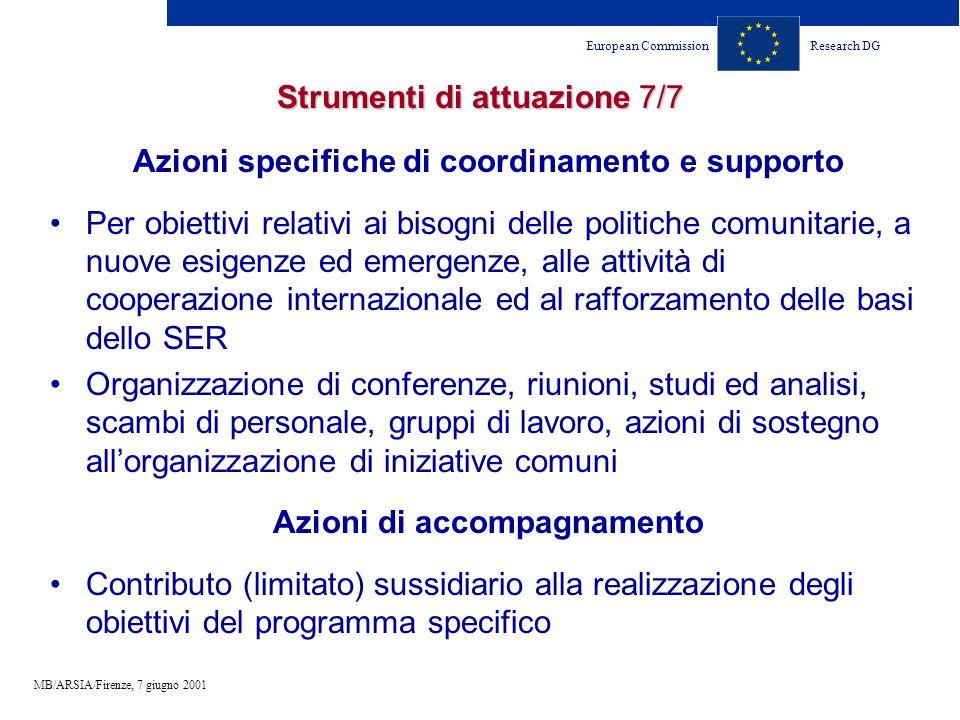 European CommissionResearch DG MB/ARSIA/Firenze, 7 giugno 2001 Strumenti di attuazione 7/7 Azioni specifiche di coordinamento e supporto Per obiettivi relativi ai bisogni delle politiche comunitarie, a nuove esigenze ed emergenze, alle attività di cooperazione internazionale ed al rafforzamento delle basi dello SER Organizzazione di conferenze, riunioni, studi ed analisi, scambi di personale, gruppi di lavoro, azioni di sostegno allorganizzazione di iniziative comuni Azioni di accompagnamento Contributo (limitato) sussidiario alla realizzazione degli obiettivi del programma specifico