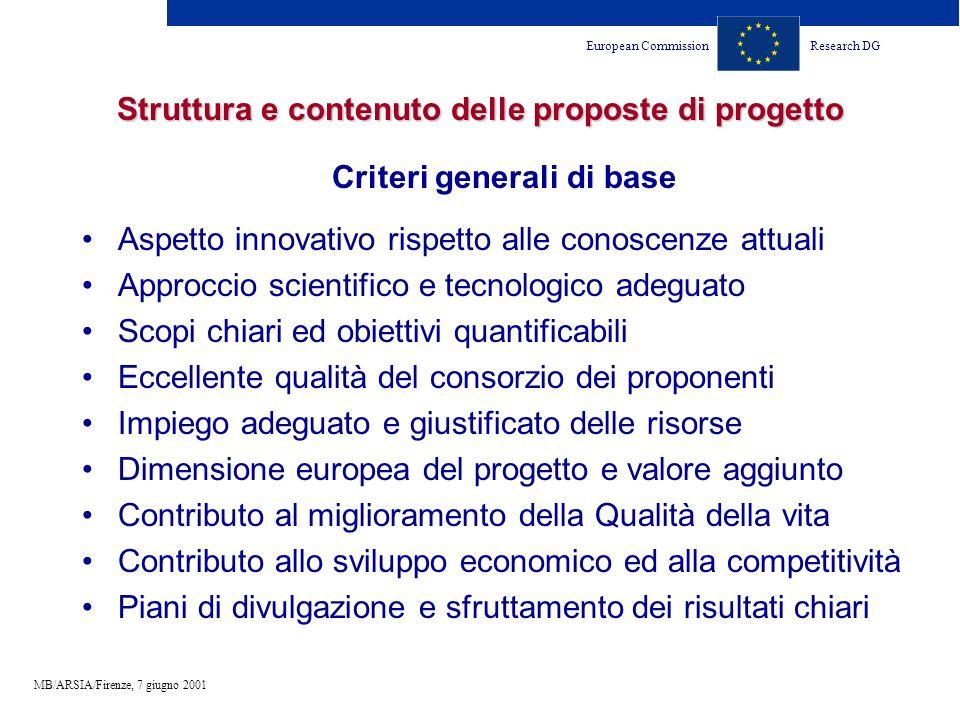 European CommissionResearch DG MB/ARSIA/Firenze, 7 giugno 2001 Struttura e contenuto delle proposte di progetto Criteri generali di base Aspetto innov