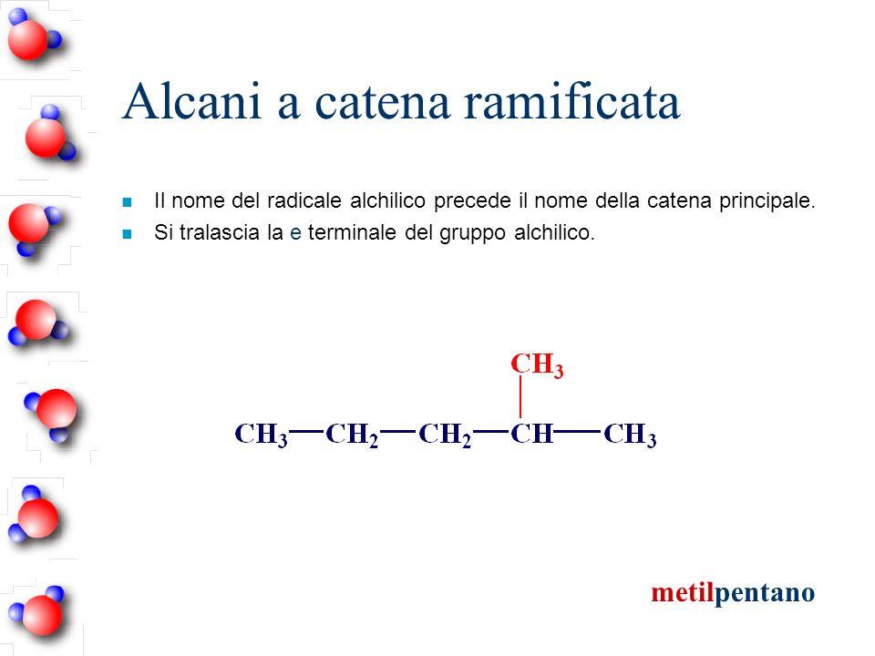 Alcani a catena ramificata n Il nome del radicale alchilico precede il nome della catena principale. n Si tralascia la e terminale del gruppo alchilic
