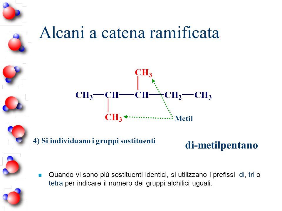 Alcani a catena ramificata n Quando vi sono più sostituenti identici, si utilizzano i prefissi di, tri o tetra per indicare il numero dei gruppi alchi