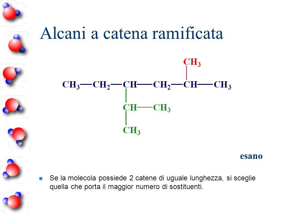 Alcani a catena ramificata esano n Se la molecola possiede 2 catene di uguale lunghezza, si sceglie quella che porta il maggior numero di sostituenti.
