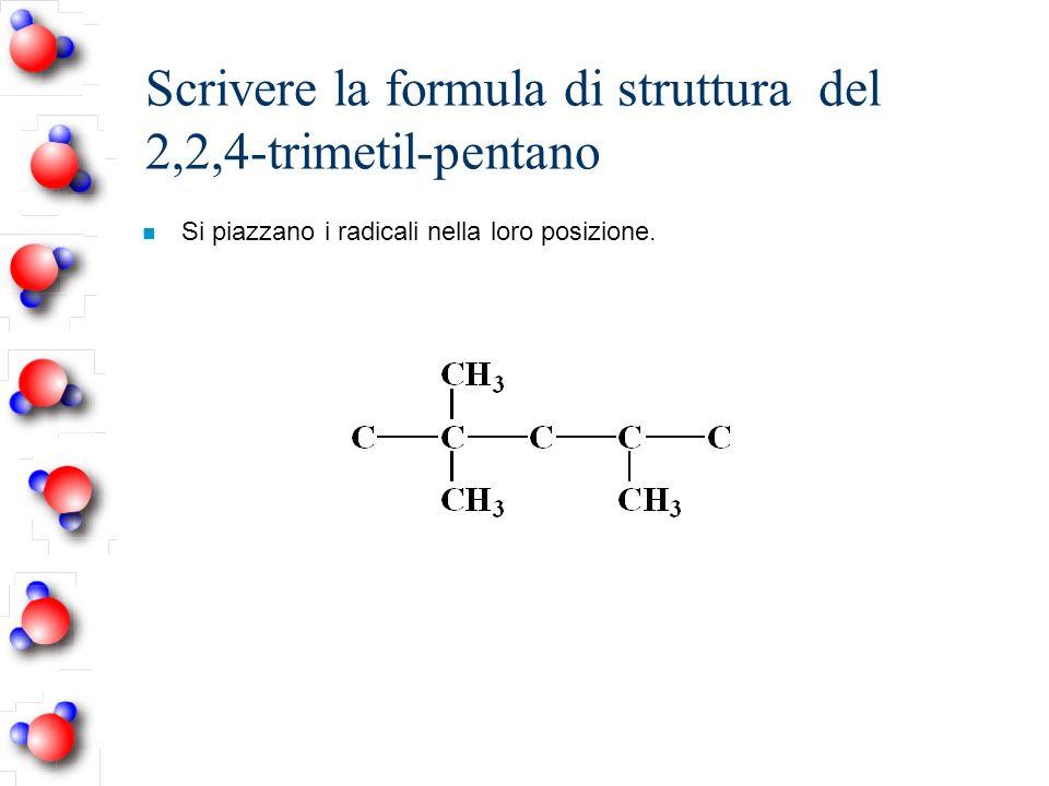 Scrivere la formula di struttura del 2,2,4-trimetil-pentano n Si piazzano i radicali nella loro posizione.