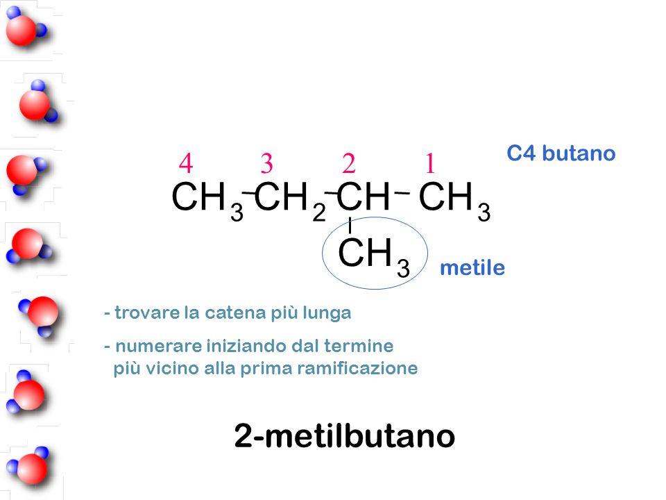 - numerare iniziando dal termine più vicino alla prima ramificazione - trovare la catena più lunga 4 3 2 1 C4 butano 2-metilbutano 323 CHCHCHCH CH 3 m