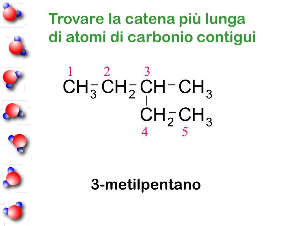 1 2 3 4 5 3-metilpentano 23 CH 3 CH 2 CHCH 3 CHCH Trovare la catena più lunga di atomi di carbonio contigui