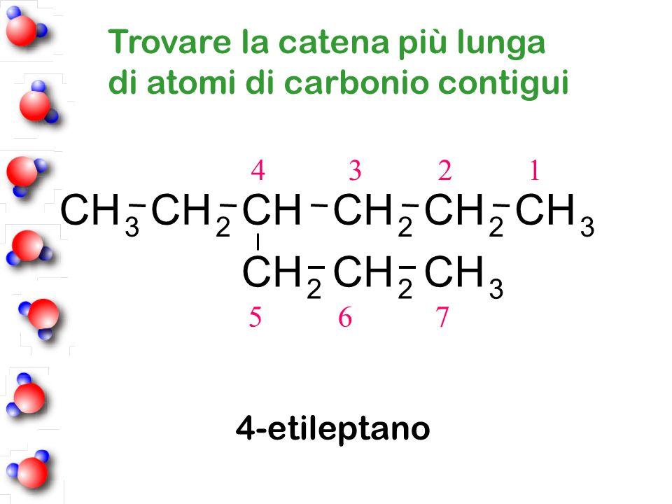 4 3 2 1 5 6 7 4-etileptano Trovare la catena più lunga di atomi di carbonio contigui CH 3 CH 2 CHCH 2 CH 2 CH 3 CH 2 CH 2 CH 3