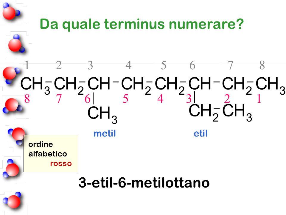 Da quale terminus numerare? 1 2 3 4 5 6 7 8 8 7 6 5 4 3 2 1 ordine alfabetico rosso metil etil 3-etil-6-metilottano CH 3 CH 2 CHCH 2 CH 2 CHCH 2 CH 3