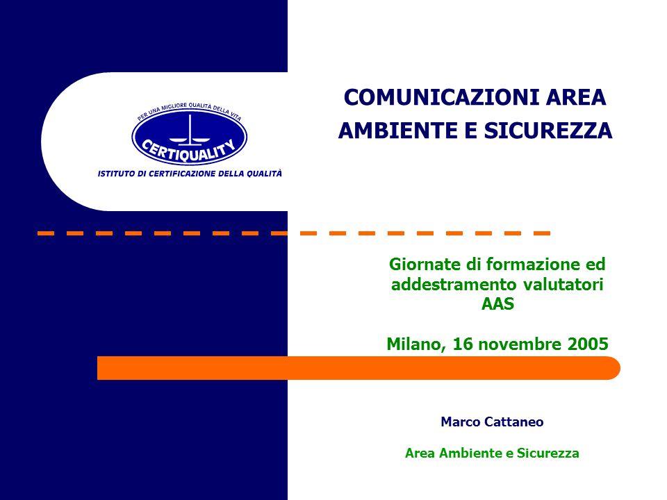 COMUNICAZIONI AREA AMBIENTE E SICUREZZA Marco Cattaneo Area Ambiente e Sicurezza Giornate di formazione ed addestramento valutatori AAS Milano, 16 novembre 2005
