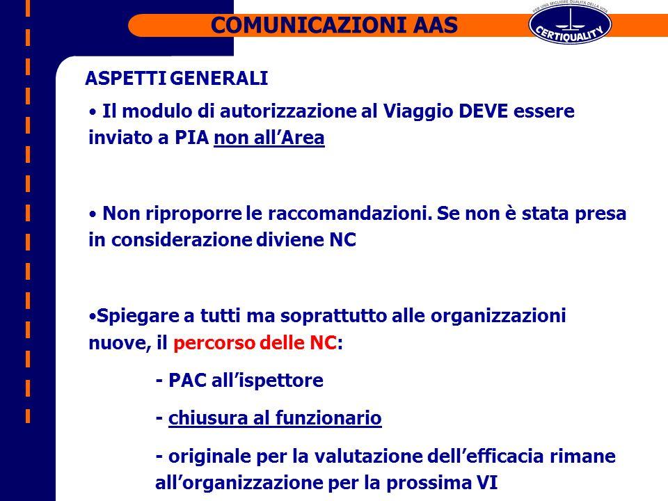 Il modulo di autorizzazione al Viaggio DEVE essere inviato a PIA non allArea Non riproporre le raccomandazioni.