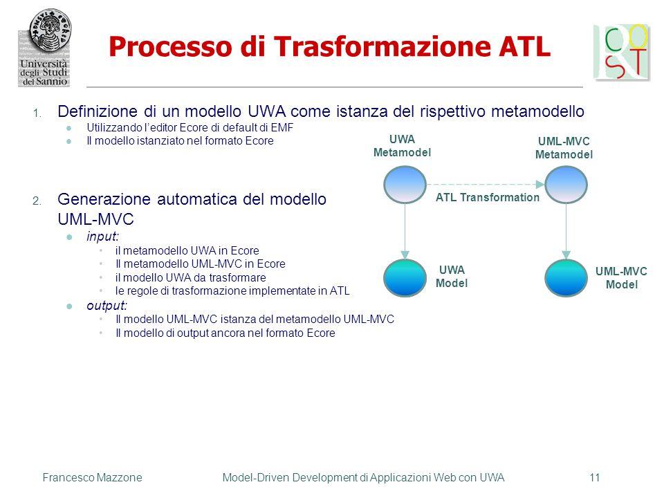 1. Definizione di un modello UWA come istanza del rispettivo metamodello Utilizzando leditor Ecore di default di EMF Il modello istanziato nel formato