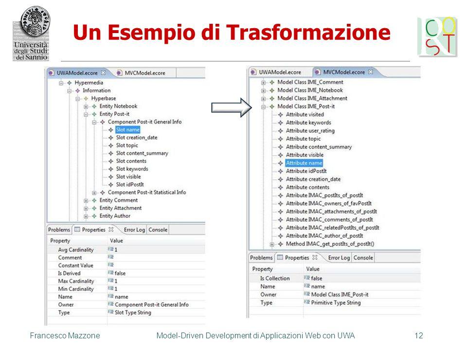 Francesco MazzoneModel-Driven Development di Applicazioni Web con UWA12 Un Esempio di Trasformazione