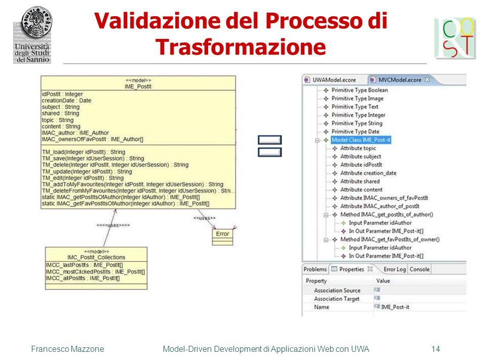 Francesco MazzoneModel-Driven Development di Applicazioni Web con UWA14 Validazione del Processo di Trasformazione