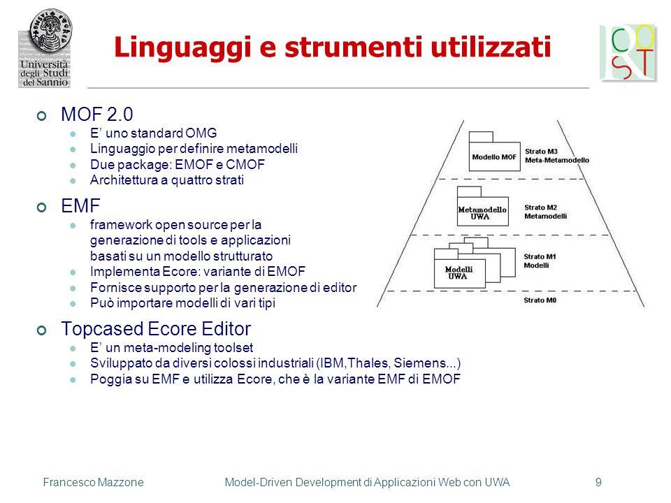 MOF 2.0 E uno standard OMG Linguaggio per definire metamodelli Due package: EMOF e CMOF Architettura a quattro strati EMF framework open source per la