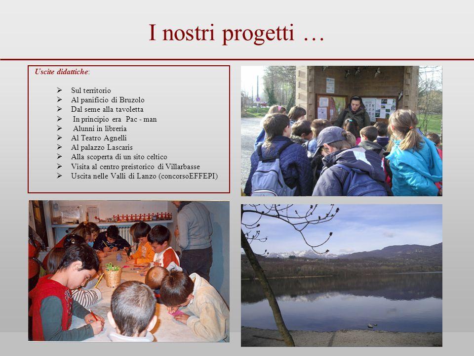 I nostri progetti … Uscite didattiche: Sul territorio Al panificio di Bruzolo Dal seme alla tavoletta In principio era Pac - man Alunni in libreria Al