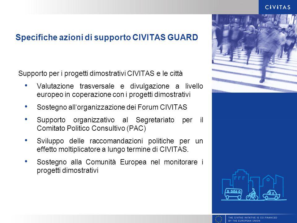 Specifiche azioni di supporto CIVITAS GUARD Supporto per i progetti dimostrativi CIVITAS e le città Valutazione trasversale e divulgazione a livello e