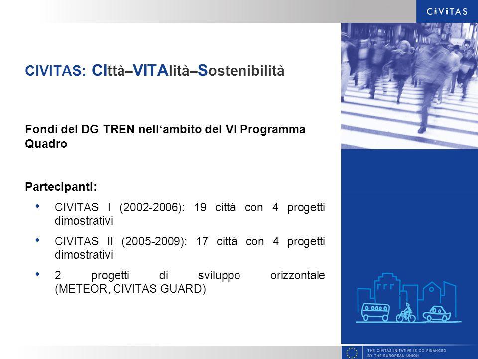 CIVITAS: CI ttà– VITA lità– S ostenibilità Fondi del DG TREN nellambito del VI Programma Quadro Partecipanti: CIVITAS I (2002-2006): 19 città con 4 pr