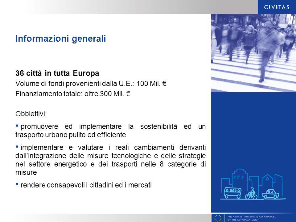 Informazioni generali 36 città in tutta Europa Volume di fondi provenienti dalla U.E.: 100 Mil. Finanziamento totale: oltre 300 Mil. Obbiettivi: promu