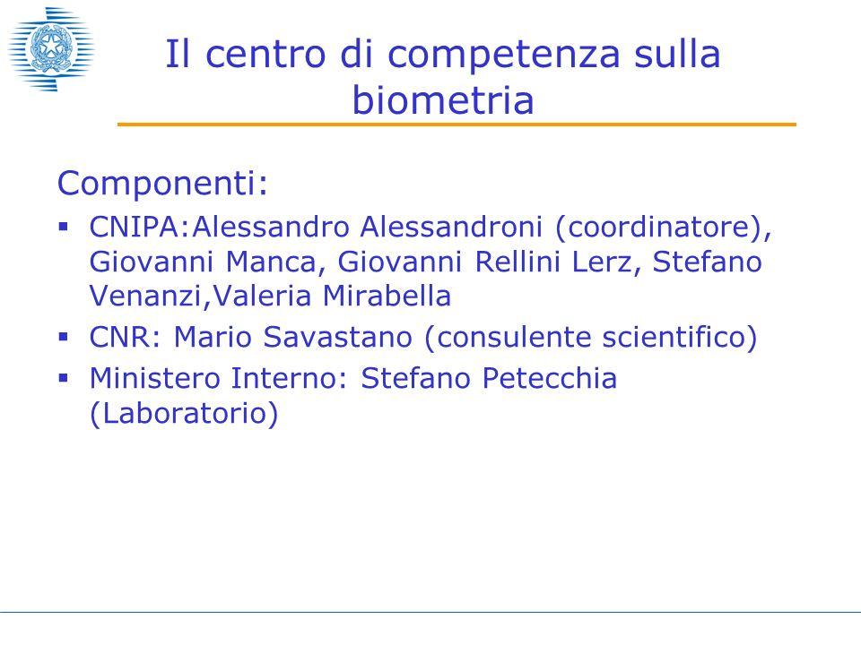 Il centro di competenza sulla biometria Componenti: CNIPA:Alessandro Alessandroni (coordinatore), Giovanni Manca, Giovanni Rellini Lerz, Stefano Venan