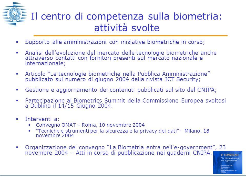 Il centro di competenza sulla biometria: attività svolte Supporto alle amministrazioni con iniziative biometriche in corso; Analisi dellevoluzione del