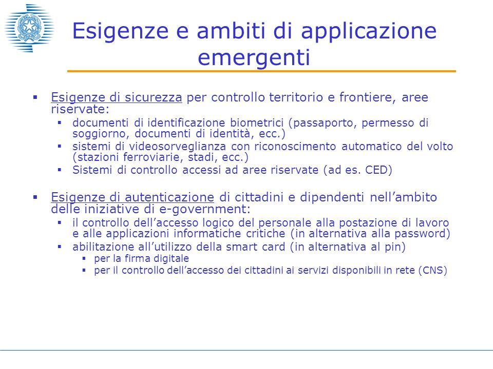 Esigenze e ambiti di applicazione emergenti Esigenze di sicurezza per controllo territorio e frontiere, aree riservate: documenti di identificazione b