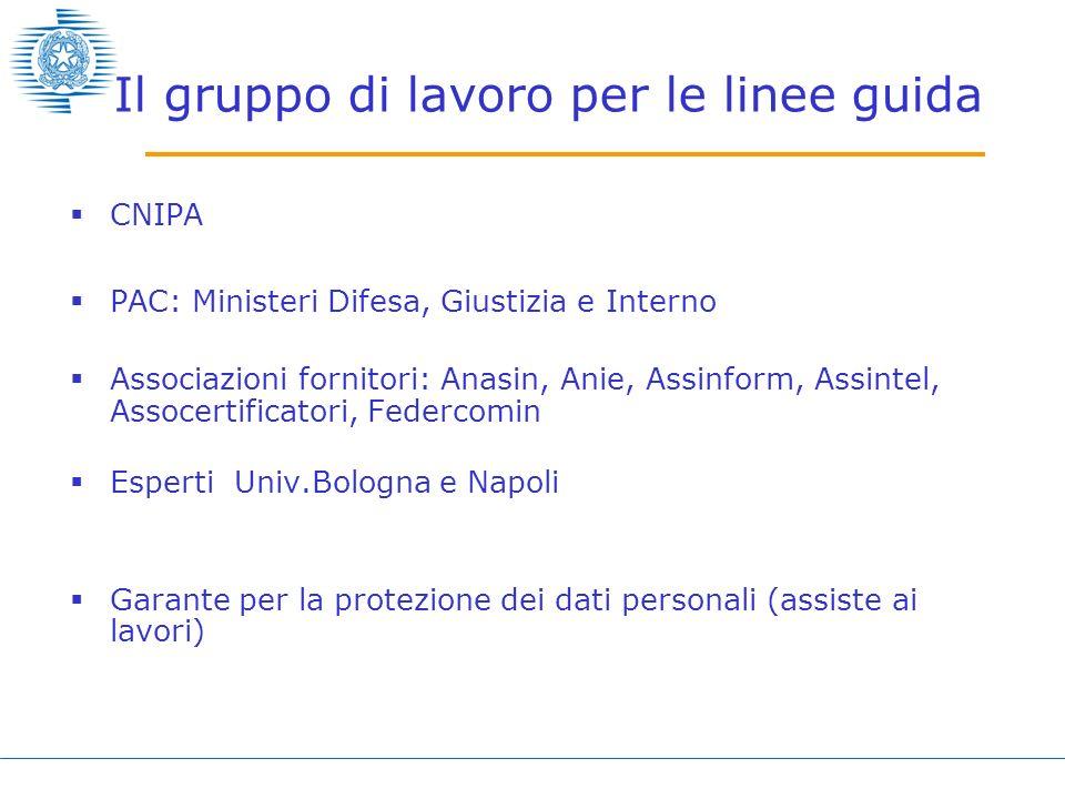 Il gruppo di lavoro per le linee guida CNIPA PAC: Ministeri Difesa, Giustizia e Interno Associazioni fornitori: Anasin, Anie, Assinform, Assintel, Ass