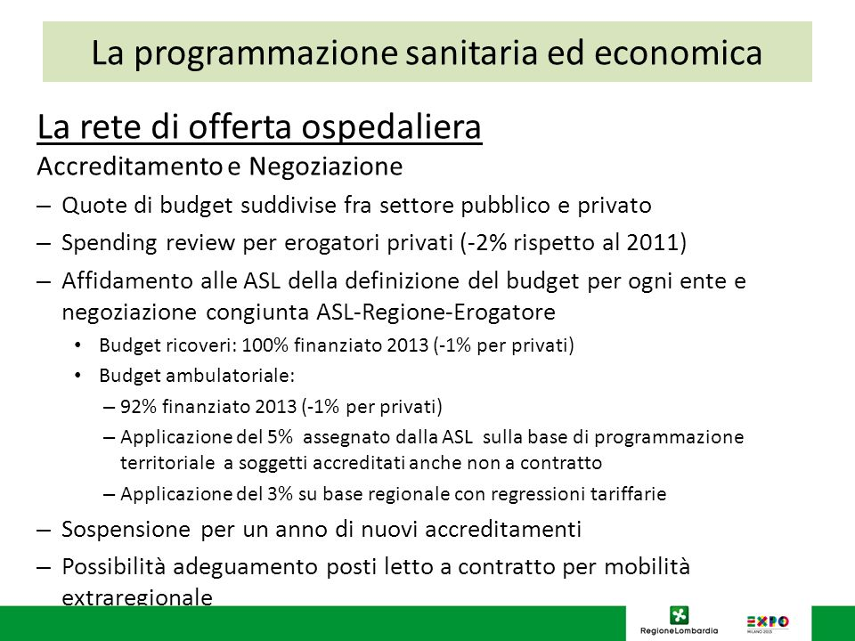 La rete di offerta ospedaliera Accreditamento e Negoziazione – Quote di budget suddivise fra settore pubblico e privato – Spending review per erogator