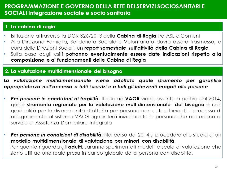 23 PROGRAMMAZIONE E GOVERNO DELLA RETE DEI SERVIZI SOCIOSANITARI E SOCIALI Integrazione sociale e socio sanitaria 1. La cabina di regia Istituzione at