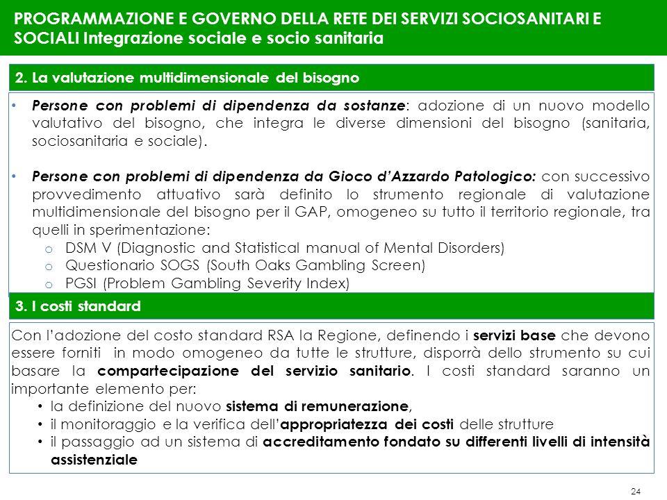 24 PROGRAMMAZIONE E GOVERNO DELLA RETE DEI SERVIZI SOCIOSANITARI E SOCIALI Integrazione sociale e socio sanitaria 2. La valutazione multidimensionale