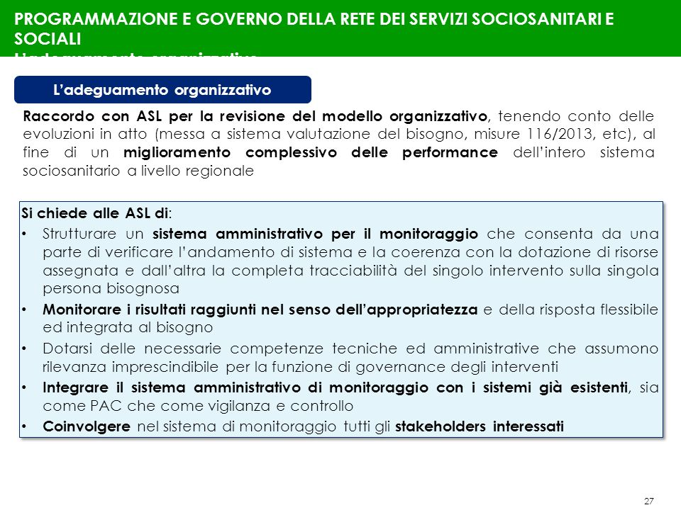 27 PROGRAMMAZIONE E GOVERNO DELLA RETE DEI SERVIZI SOCIOSANITARI E SOCIALI Ladeguamento organizzativo Si chiede alle ASL di : Strutturare un sistema a