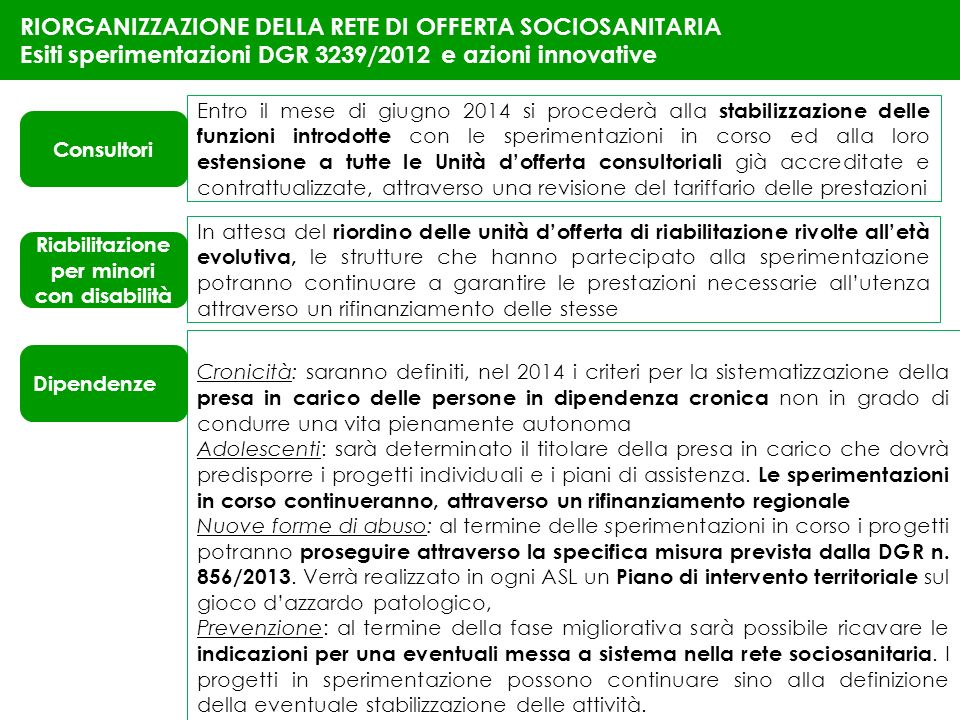 28 RIORGANIZZAZIONE DELLA RETE DI OFFERTA SOCIOSANITARIA Esiti sperimentazioni DGR 3239/2012 e azioni innovative Entro il mese di giugno 2014 si proce