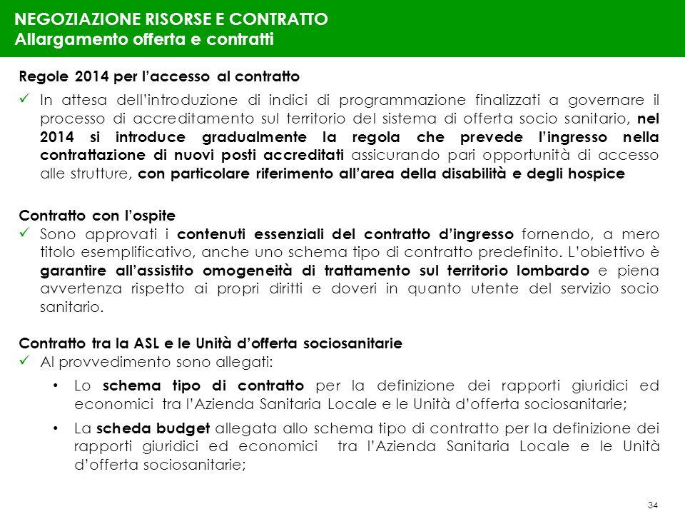34 NEGOZIAZIONE RISORSE E CONTRATTO Allargamento offerta e contratti Regole 2014 per laccesso al contratto In attesa dellintroduzione di indici di pro