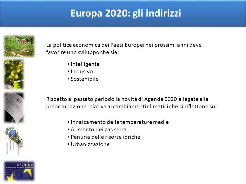 Europa 2020: gli indirizzi La politica economica dei Paesi Europei nei prossimi anni deve favorire uno sviluppo che sia: Intelligente Inclusivo Sosten