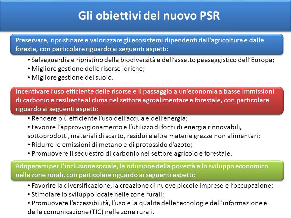 Gli obiettivi del nuovo PSR Preservare, ripristinare e valorizzare gli ecosistemi dipendenti dallagricoltura e dalle foreste, con particolare riguardo