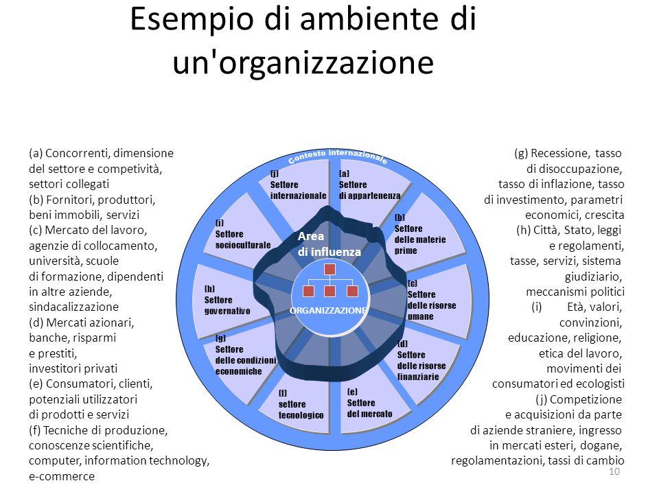 10 (a) Concorrenti, dimensione del settore e competività, settori collegati (b) Fornitori, produttori, beni immobili, servizi (c) Mercato del lavoro,