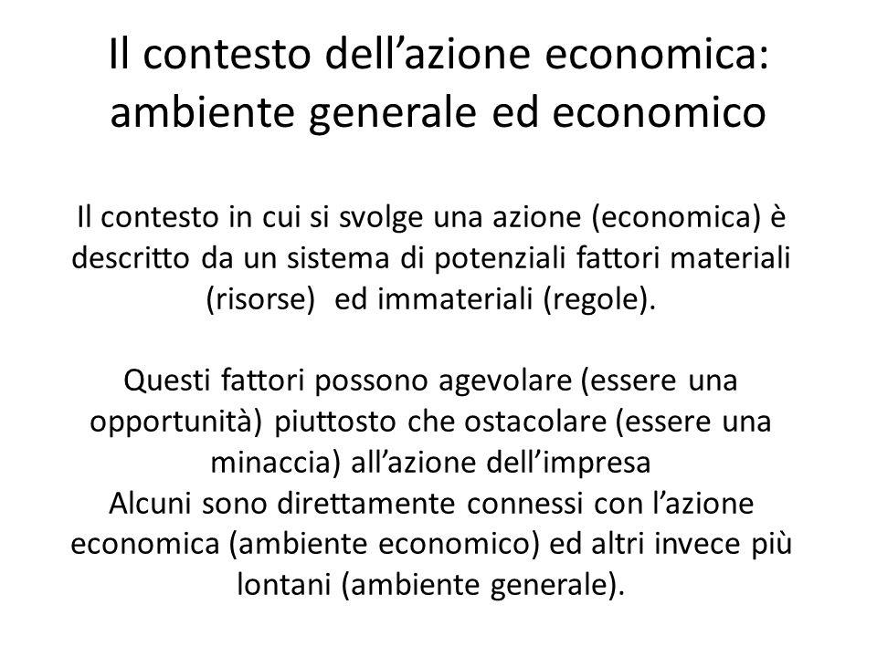 Il contesto dellazione economica: ambiente generale ed economico Il contesto in cui si svolge una azione (economica) è descritto da un sistema di potenziali fattori materiali (risorse) ed immateriali (regole).