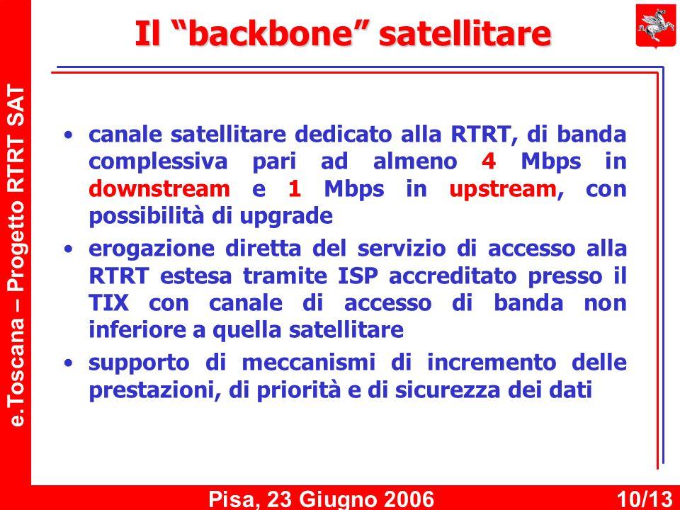 e.Toscana – Progetto RTRT SAT Pisa, 23 Giugno 200610/13 Il backbone satellitare canale satellitare dedicato alla RTRT, di banda complessiva pari ad almeno 4 Mbps in downstream e 1 Mbps in upstream, con possibilità di upgrade erogazione diretta del servizio di accesso alla RTRT estesa tramite ISP accreditato presso il TIX con canale di accesso di banda non inferiore a quella satellitare supporto di meccanismi di incremento delle prestazioni, di priorità e di sicurezza dei dati