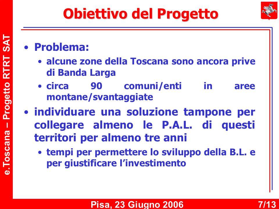 e.Toscana – Progetto RTRT SAT Pisa, 23 Giugno 20067/13 Obiettivo del Progetto Problema: alcune zone della Toscana sono ancora prive di Banda Larga circa 90 comuni/enti in aree montane/svantaggiate individuare una soluzione tampone per collegare almeno le P.A.L.