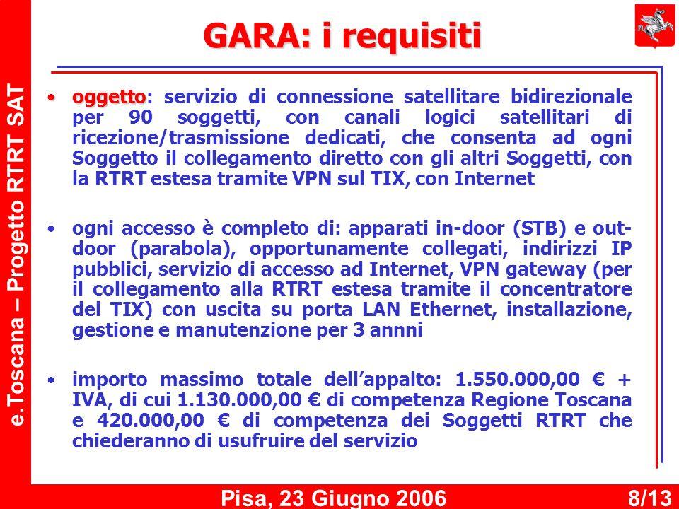 e.Toscana – Progetto RTRT SAT Pisa, 23 Giugno 20068/13 GARA: i requisiti oggettooggetto: servizio di connessione satellitare bidirezionale per 90 soggetti, con canali logici satellitari di ricezione/trasmissione dedicati, che consenta ad ogni Soggetto il collegamento diretto con gli altri Soggetti, con la RTRT estesa tramite VPN sul TIX, con Internet ogni accesso è completo di: apparati in-door (STB) e out- door (parabola), opportunamente collegati, indirizzi IP pubblici, servizio di accesso ad Internet, VPN gateway (per il collegamento alla RTRT estesa tramite il concentratore del TIX) con uscita su porta LAN Ethernet, installazione, gestione e manutenzione per 3 annni importo massimo totale dellappalto: 1.550.000,00 + IVA, di cui 1.130.000,00 di competenza Regione Toscana e 420.000,00 di competenza dei Soggetti RTRT che chiederanno di usufruire del servizio